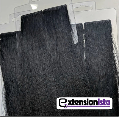 The Natalia - Jet Black Injected Tape-in extensions - Extensionista Salon