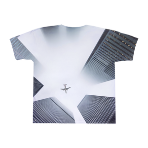 Plane flying over city Custom Mosaic T-Shirt Design by Mozayink.com