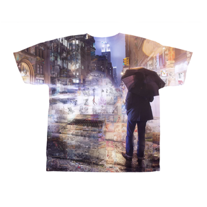 Man with Umbrella in New York City Night Custom Mosaic T-Shirt Design by Mozayink.com