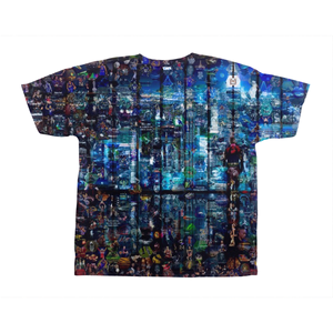 Man Standing in Corporate Office Staring Into the City Custom Mosaic T-Shirt Design by Mozayink.com