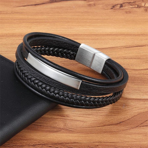 3PCS Magnetic-Clasp Braided Leather Bracelets for Men Wrap Leather Bracelet Bangle Wrist Cuff