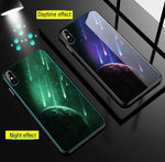 Planet Lion Moon Luminous Glass Case For iPhone X XS MAX XS Luxury Silicone Phone Case - P&Rs House