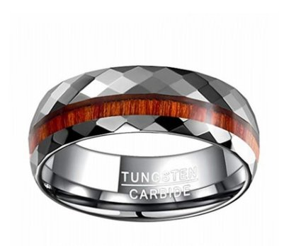 WOOD GRAIN TUNGSTEN CARBIDE RING| Tungsten steel ring cut flower parquet - P&Rs House
