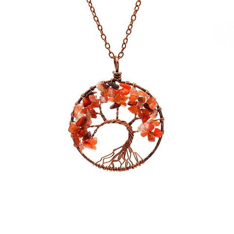 Tree Of Life Pendant Necklace Copper Crystal Natural Stone Necklace