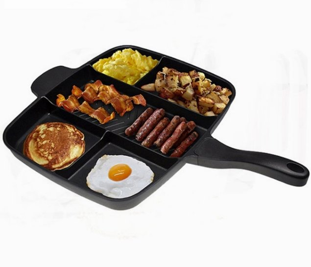Non-Stick Divided 5 in 1 Magic Frying Grill Pan Skillet | Non-Stick Divided Grill Pan Fry Oven Skillet Cookware Kitchen Accessories - P&Rs House