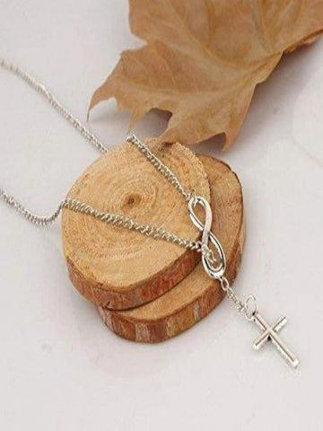 Women's Silver Cross Infinity Pendant Necklace  For Birthday Gift Daily Casual