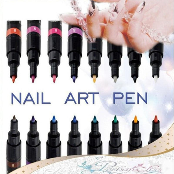 OOH WOW 1PC Beauty 16 Colors Two-way Acrylic Paint Pen DIY Gel Polish Drawing Tools Nails Accessoires Manicure 3D Nail Art Pen