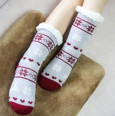 Thickened and velvet silicone non-slip adult floor socks indoor warm foot cover