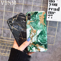 Luxury Marble Phone Case For iphone X XR XS Max Silicone Black Gold Fashion Soft Cover