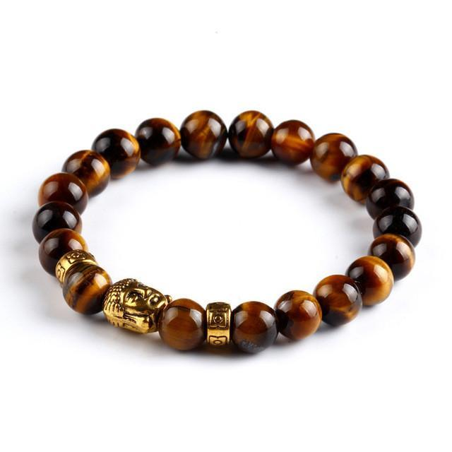 Buddha head energy volcanic stone beaded bracelet - P&Rs House