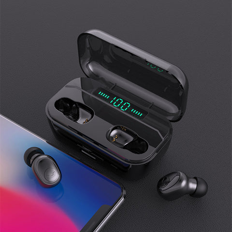 Wireless Earbuds, True Wireless Bluetooth Earbuds Bass Headphones Earphones with Wireless Charging Powerbank Case Battery Display IPX7 Waterprooof 70H Playtime for iPhone,Android,Windows