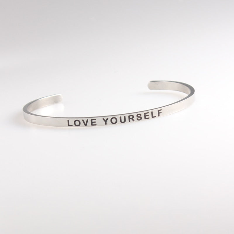 Titanium Stainless Steel Mantra Bracelets   Inspirational Quotes LOVE YOURSELF Bracelets/Bangles - P&Rs House