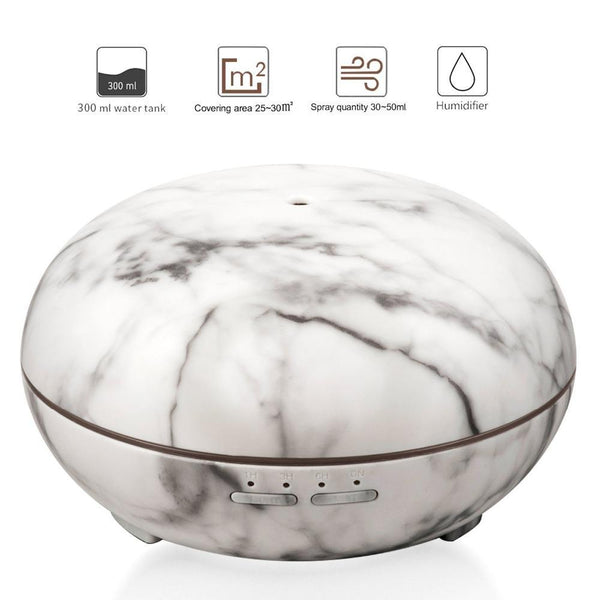 Ultrasonic Air Humidifier With Marble Grain LED Light  Aromatherapy