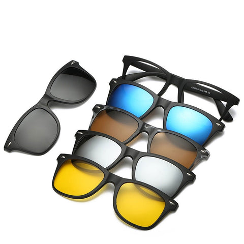 5 in 1 sunglasses men magnetic sunglasses clip on glasses magnetic lens sunglasses