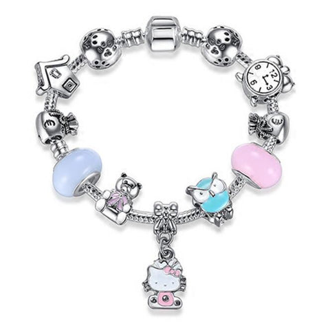 Silver Kitty Cat Charm Bracelet | Original Bracelet Bangle  Glass Beads Bracelet for Women Girls Kids DIY Jewelry