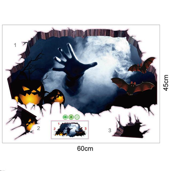 3D  Halloween Broken Wall Sticker