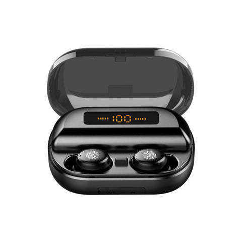 Mini Portable Wireless bluetooth 5.0 Earphone LED Display Stereo 4000mAh Power Bank Earbuds Bilateral Call Headphone (Black)
