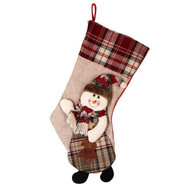 Warm Decorative Large Christmas Stocking | Santa Claus Sock Plaid Burlap Gift Holder