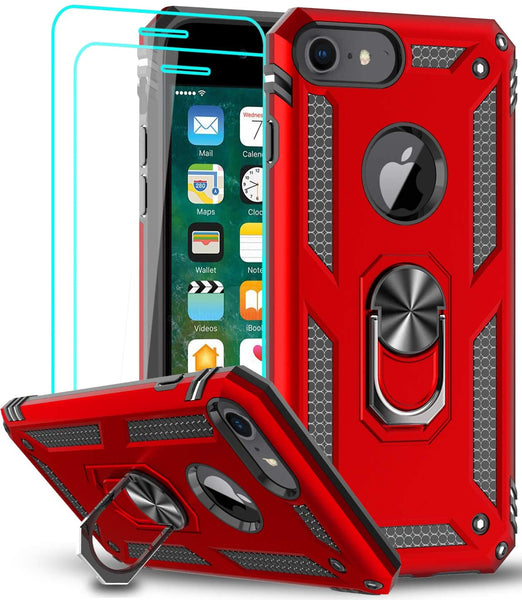 LeYi AMZ Compatible for iPhone 6s /6 Case, iPhone 7 Case, iPhone 8 Case, Military-Grade Dual Layer Protective Phone Cover Case with 360 Degree Rotating Holder Kickstand for Apple iPhone 6/ 6s/ 7/8, Red