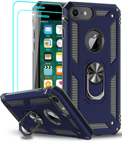LeYi AMZ Compatible for iPhone 8 Case, iPhone 7 Case, iPhone 6s/ 6 Case with Tempered Glass Screen Protector [2 Pack], Military-Grade Protective Phone Case with Ring Kickstand for iPhone 6/6s/7/8, Blue
