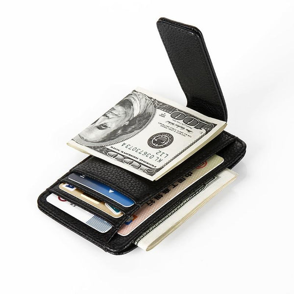 Genuine Leather Magnet Wallet Money Clip