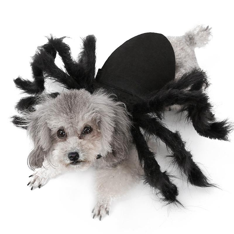 Halloween Pet Spider Clothes Puppy Plush Spider Cosplay Costume For Dogs Cats Party Cosplay Funny Outfit Simulation Black Spider