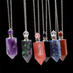 Natural Crystal Hexagonal Perfume Bottle Pendant Necklace  Fluorite Pendant Essential Oil Jar Chain Necklace - P&Rs House