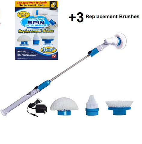 Hurricane Spin Scrubber richargeabel brush With 3 extra replacment brushes