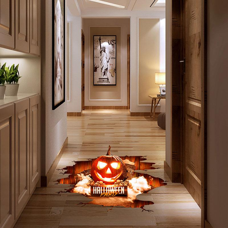Halloween 3D Stickers View Scary Pumpkin Shaped Window Floor Stickers Halloween Decoration Poster PVC Removable Decal for Kids