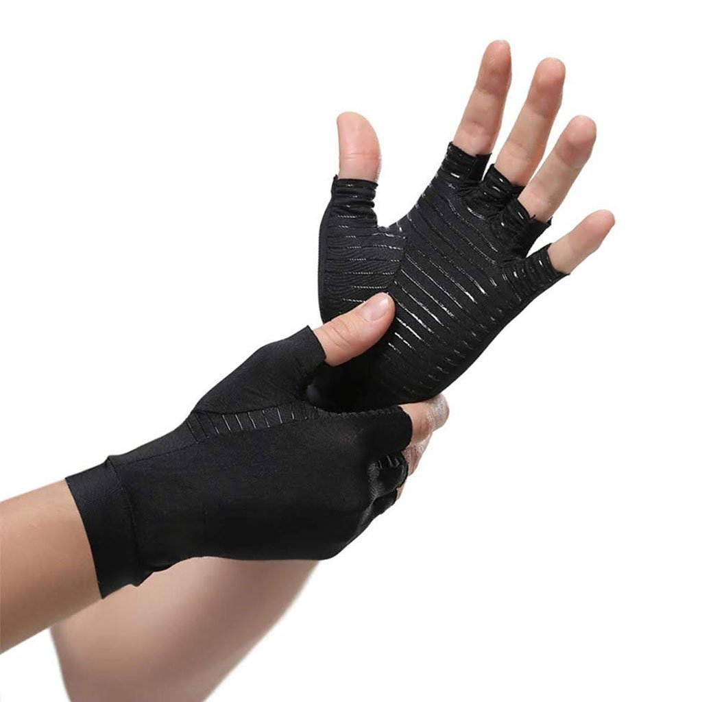 Best selling Arthritis Compression Gloves Copper Fiber Therapy Men & Women, Half Fingers - P&Rs House