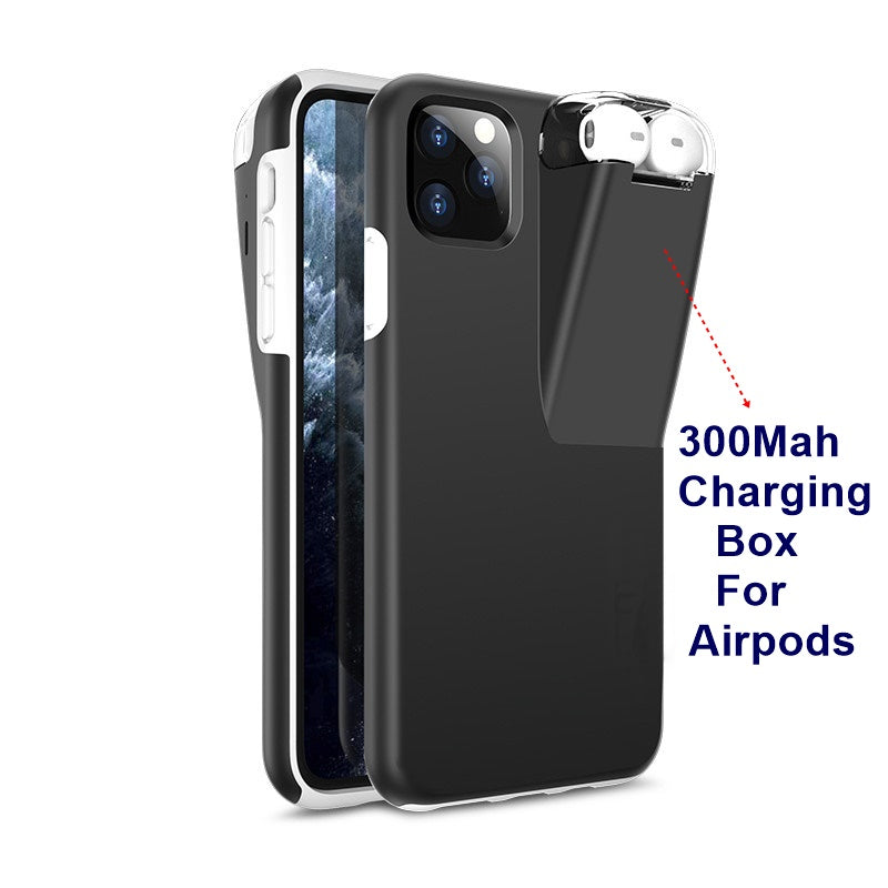 NEW 2 In 1 Phone Case With 300Mah Charging Box Earphone Storage Box For Apple AirPods 2 1  For iPhone 11 Pro Max  Xs Max XR X 8 7 6 6S Plus - P&Rs House