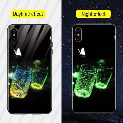 Planet Lion Moon Luminous Glass Case For iPhone X XS MAX XS Luxury Silicone Phone Case