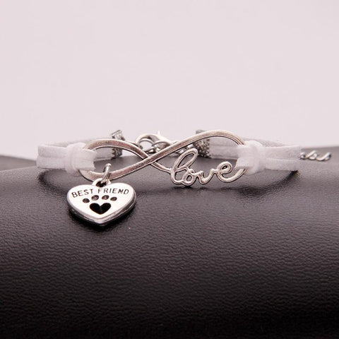 Infinity love dog cat pet paw footprint|  best friend bracelet heart charm men wrap bracelets & bangles for women jewelry