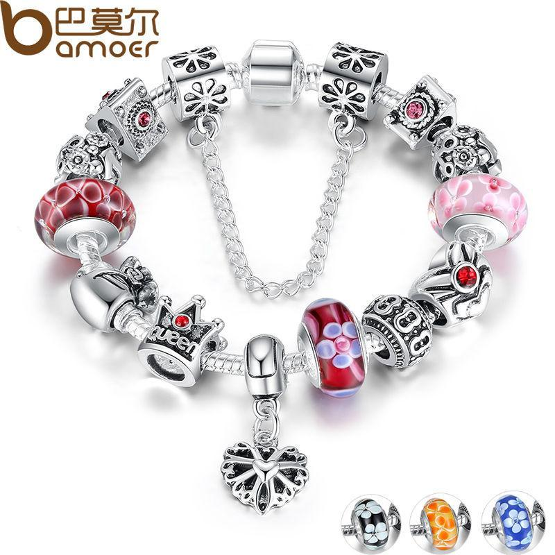 BAMOER Silver Charms Bracelet & Bangles With Queen Crown Beads - P&Rs House