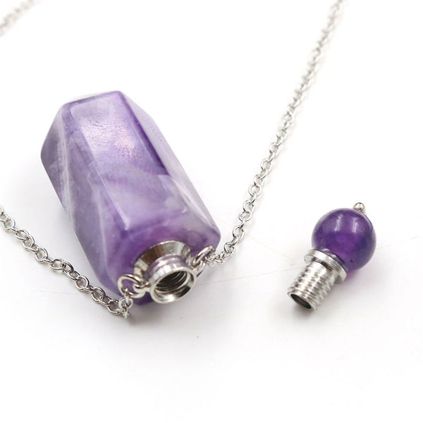 Natural Crystal Hexagonal Perfume Bottle Pendant Necklace  Fluorite Pendant Essential Oil Jar Chain Necklace