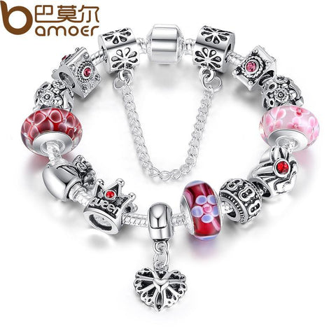 BAMOER Silver Charms Bracelet & Bangles With Queen Crown Beads
