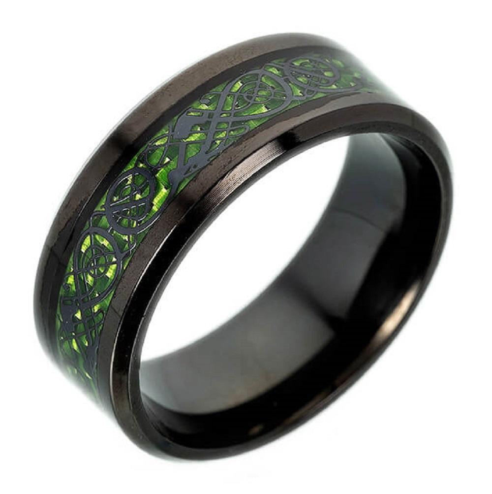 Green | Red Tungsten Celtic Dragon Ring Custom Men's Ring Black Carbon Fiber Tungsten Wedding - P&Rs House