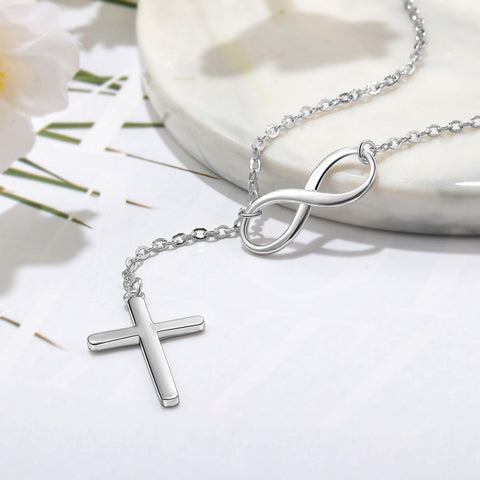 925 Sterling Silver Infinity Love Necklace with Cross Fashion Chain Necklaces for Women Wedding Jewelry (JewelOra NE101965)