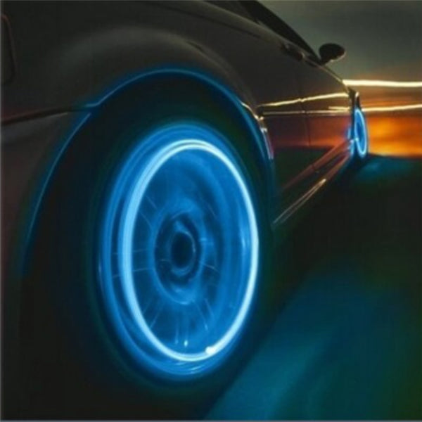 Car Tire Colorful Lights Motorcycle And Auto Accessories Bike Supplies Neon Blue Strobe LED Tire Valve Caps Light