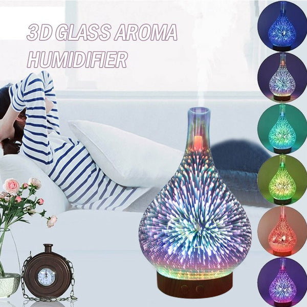LED Aromatherapy Humidifier Night Light 3D Glass Firework 7 Colors Oil Diffuser Two Humidification Modes UK/US/AU/EU Plug