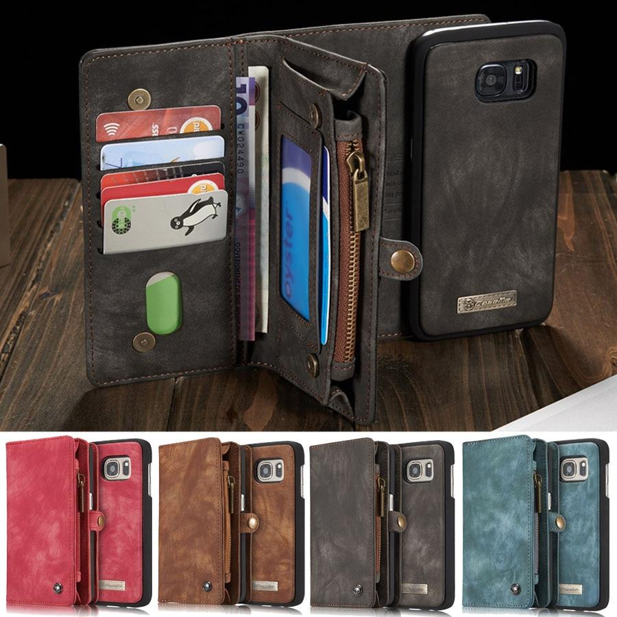 Luxury Leather Phone Wallet with Card Holders For Samsung Galaxy S7 Edge S8 S9 S10 Plus S10E note 8 9 10 Pro with Detachable Leather Magnet Case - P&Rs House