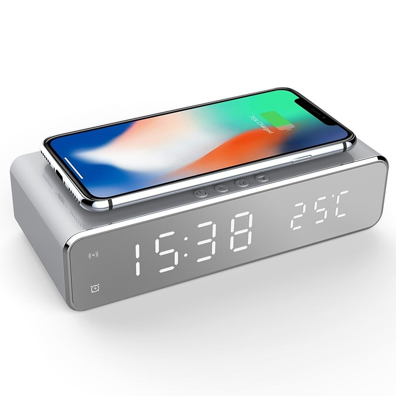 USB Digital LED Desk Alarm Clock With Thermometer Wireless Charger For Samsung Xiaomi Huawei (Silver) - P&Rs House