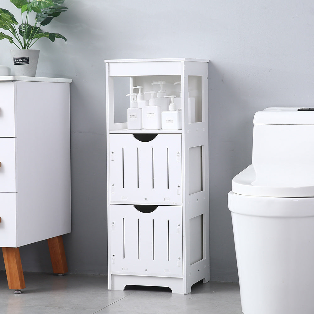 Bathroom Floor Cabinet, Multifunctional Wooden Storage Cabinet with 2 Adjustable Drawers, Sturdy Side Cabinet for Home Office Living Room