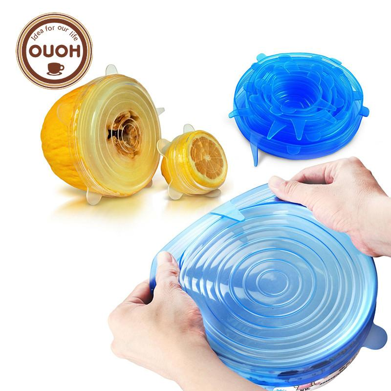 Universal Silicone Saran Food Wrap Lid-bowl Pot Lid-silicon Stretch Lids Silicone Cover Pan Kitchen Vacuum Lid Sealer - P&Rs House