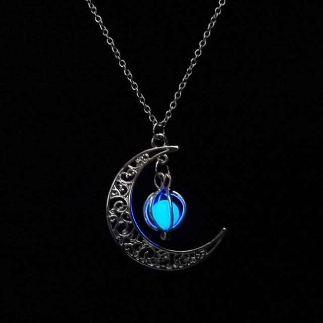 Glow In the dark Necklace| Moon shape Hollow with ball Luminous  Pumpkin Pendant Necklace | Valentine Halloween Necklace