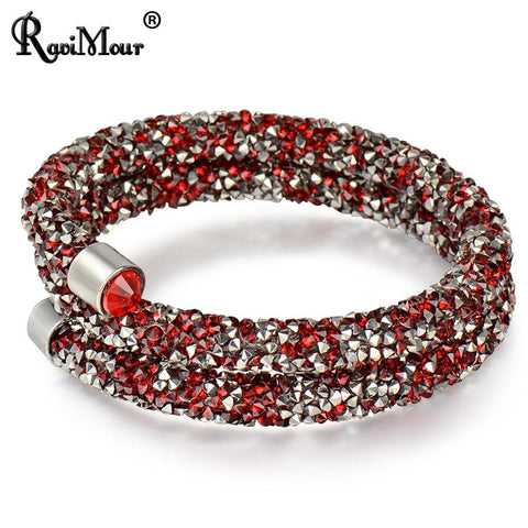 RAVIMOUR Trendy Strand Bracelet for Women Men Jewelry Crystal Charms Bracelets & Bangles Costume Cuff Wristband Bijoux