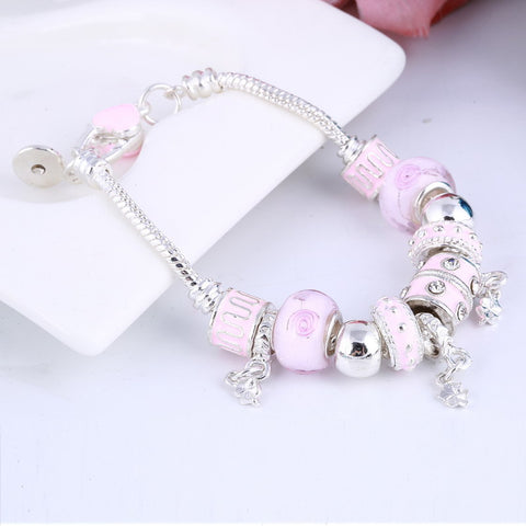 Pink Crystal Charm Silver Bracelets & Bangles for Women With Murano Beads
