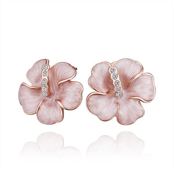 Swarovski Crystal 18K Rose Gold Plated Flower Stud Earrings for Womens - P&Rs House