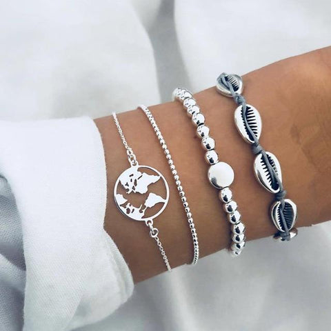 DIEZI 4pcs/set Bohemian Silver Chain Beads Bracelets | Vintage Fashion Ocean Map Shell Bracelets Bangles Sets For Women