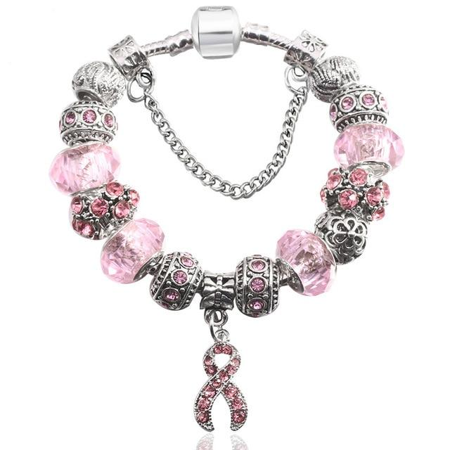 European Style Vintage Silver plated Crystal Charm Bracelet Women fit Original DIY Fne Bracelet Jewelry - P&Rs House